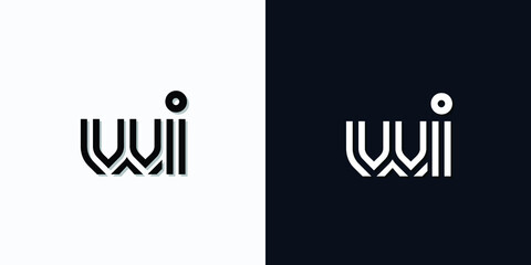 Fototapeta Modern Abstract Initial letter WI logo. This icon incorporates two abstract typefaces in a creative way. It will be suitable for which company or brand name starts those initial. obraz
