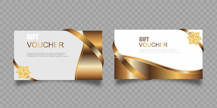 Vector set of luxury gift vouchers with ribbons and gift box. Elegant template for a festive gift card, coupon and certificate. Discount Coupon Template