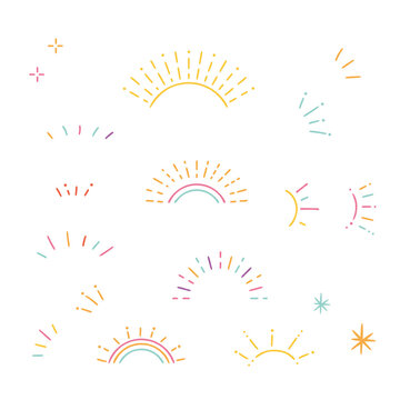 Hand drawn style colorful sunburst frame set, Vector design elements