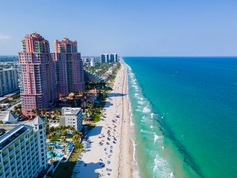 Beautiful aerial view of Central Beach in Fort Lauderdale