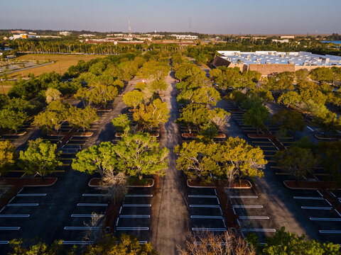Beautiful aerial view of a huge empty parking lot of a huge mall in Florida
