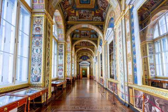 Saint Petersburg, Russia - April 2021: Raphael Loggias in Hermitage museum (Winter palace)