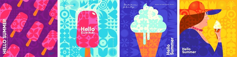 Fototapeta Ice cream. Summer. A set of flat vector illustrations. Summer time, background patterns on the theme of summer, vacation, weekend, beach. Perfect background for posters, cover art, flyer, banner. obraz