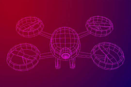 Remote aerial drone with a camera taking photography or video recording or deliver something. Wireframe low poly mesh vector illustration