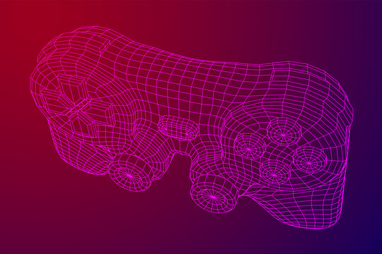Game controller or gamepad for videogames. Wireframe low poly mesh vector illustration.