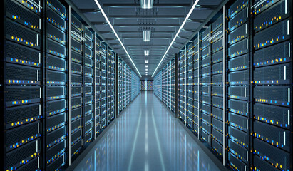 Obraz Server room data center - 3d rendering - fototapety do salonu