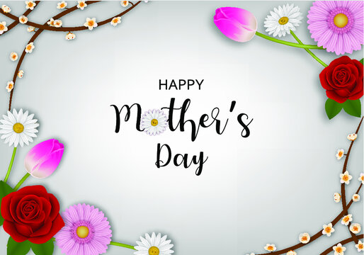 Happy Mothers Day Background With Flowers_2