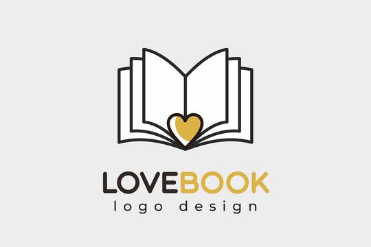 Love book logo vector icon illustration