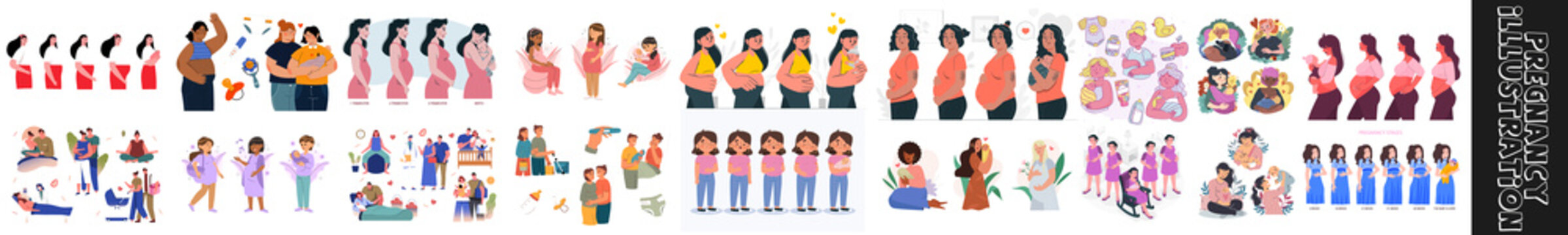 flat cartoon vector illustration.The main stages of pregnancy. Changes in the female body during pregnancy week after week. Set for infographics. Pregnancy Calendar. Flat stock vector illustration.