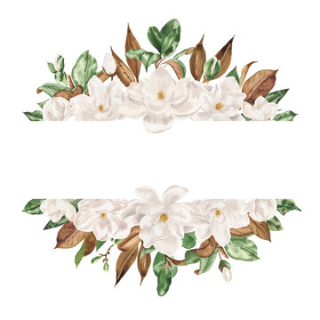 Hand drawn watercolor floral border of flowers white magnolia and green leaves. Perfect for creating cards, invitations, wedding design.