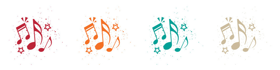 Obraz Music Notes Concept - Colorful Vector Illustrations Isolated On White Background - fototapety do salonu