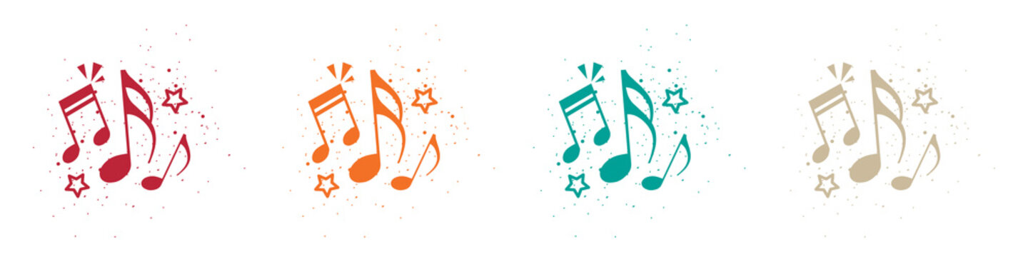 Music Notes Concept - Colorful Vector Illustrations Isolated On White Background