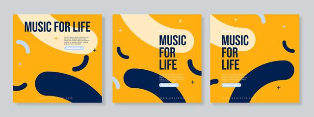 Fototapeta Music banner for social media post template vector