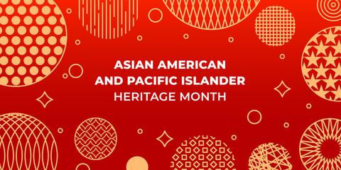Fototapeta Asian American and Pacific Islander Heritage Month. Vector banner for social media, card, poster. Illustration with text, chinese lantern. Asian Pacific American Heritage Month horizontal composition