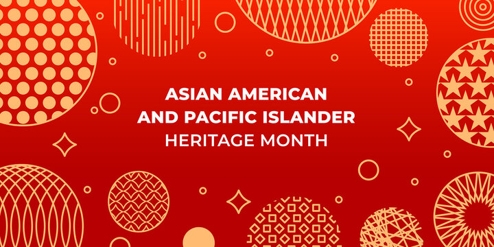 Asian American and Pacific Islander Heritage Month. Vector banner for social media, card, poster. Illustration with text, chinese lantern. Asian Pacific American Heritage Month horizontal composition