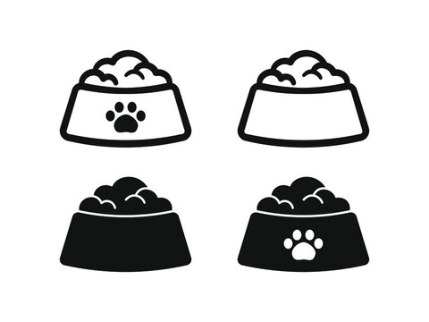 Dog, cat, animal or pet full food bowl symbol sign silhouette and outline set. Black and white logo icon flat vector clip art illustration design.