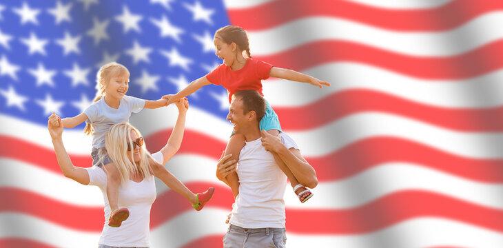 Family Posing With American Flag, usa flag