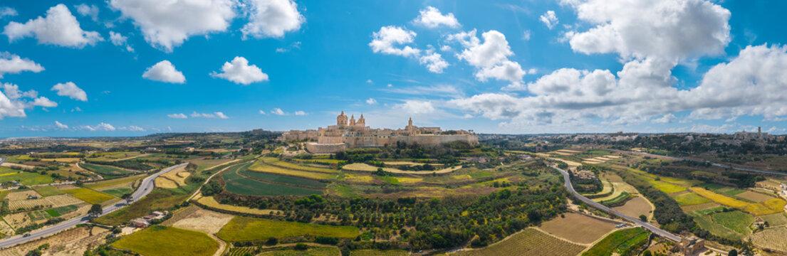 Landscape panorama view of Mdina city - old capital of Malta island