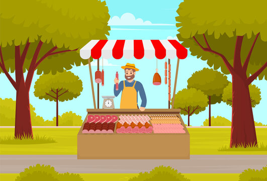 Farmer street market or fair shopping counter with meat and seller man sells livestock products