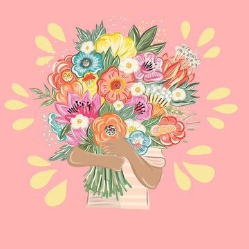 Hands of man and woman holding bouquet of flowers. Vector illustration in cartoon style
