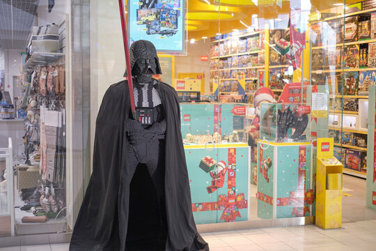 Lego Block figure with Darth Vader from the movie Star Wars - Moscow, Russia, December 08, 2020