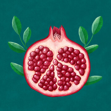 pomegranate  with leafs on a green background