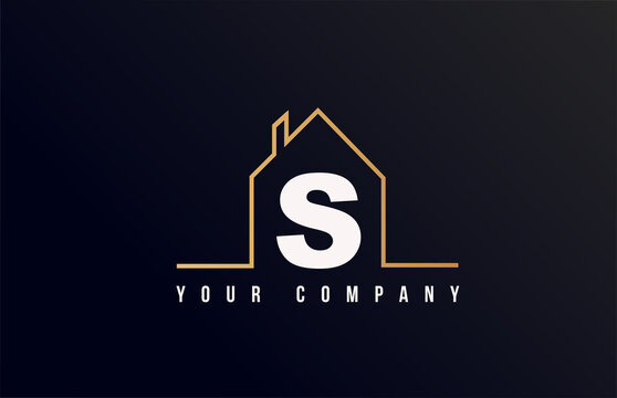 S house alphabet letter icon logo design. House real estate for company and business identity with line contour of a home