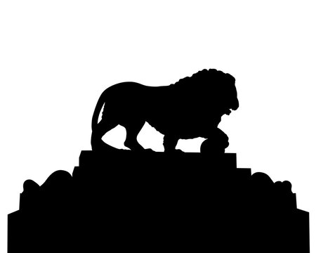 Ancient stone lion on a high pedestal. Isolated silhouette on white background