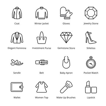 Clothes and Accessories Outline Icons - Stroked, Vectors