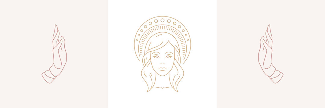 Magic woman face with halo and female praying hands gestures in boho linear style vector illustrations set