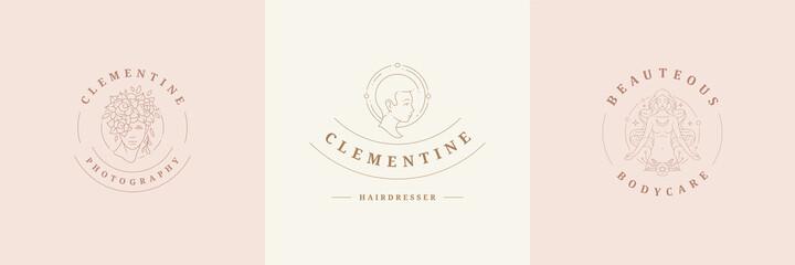 Fototapeta Feminine logos emblems design templates set with magic female portraits vector illustrations minimal linear style obraz