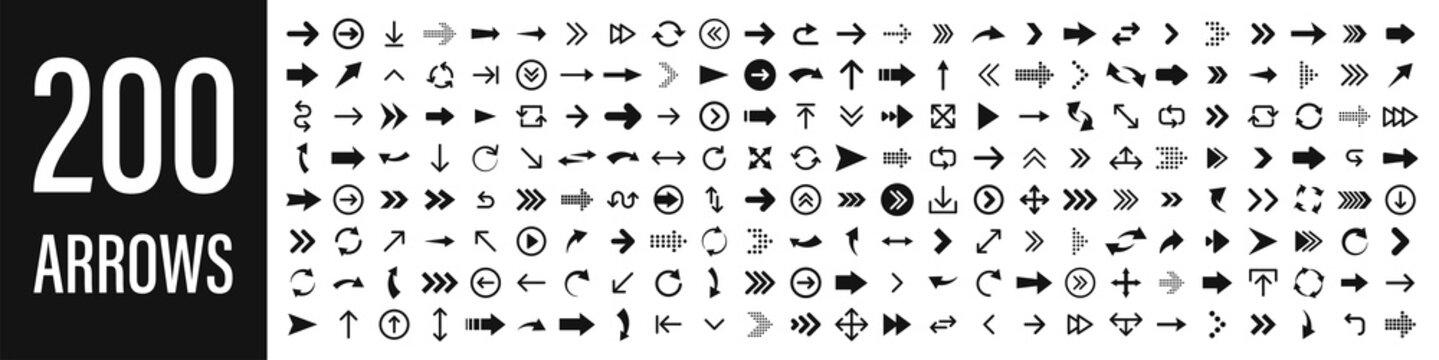 Arrows set of 200 black icons. Arrow icon. Arrow vector collection. Arrow. Cursor. Modern simple arrows. Vector illustration.