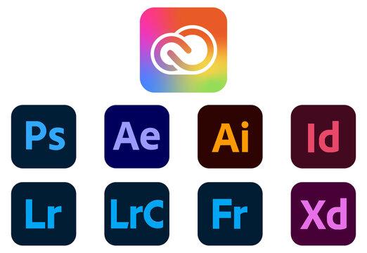 VINNYTSIA, UKRAINE - APRIL 20 2021 Set of new icons Adobe CC NEW Brand System 2021 Photoshop, After Effects, Illustrator, InDesign, Lightroom, Lightroom Classic, Fresco, Adobe XD. Vector illustration
