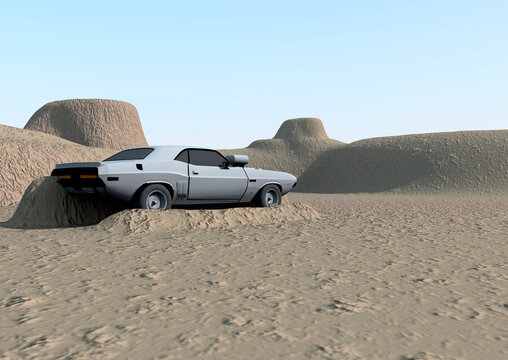 An abandoned car in the middle of the desert. 3d Illustration