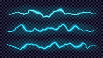 Vector glowing blue lightning set. Electric energy or equalizer design elements.