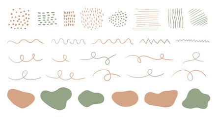 Organic shapes, spots, lines, dots. Vector set of trendy abstract hand drawn elements for graphic design