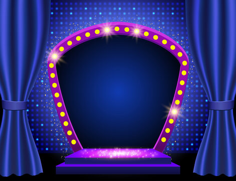 Blue curtain and shine mosaic background. Design for presentation, concert, show