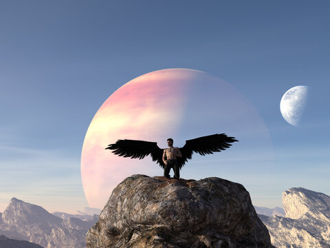 Illustration of a muscled angelic man kneeling on a large boulder with black wings wearing pants against a rising planet.