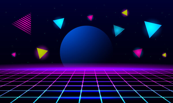 planet and geometric triangles on the background of the landscape laser grid in space.
