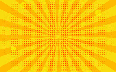 Vintage vector retro background with sun rays. Pop art poster, banner comics.