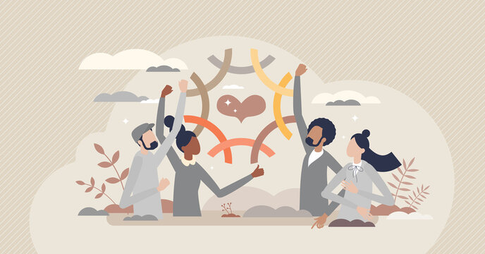 Community connection and various social group integration tiny person concept. Society ethnic, cultural and racial bonding with solidarity and harmony vector illustration. Together welcoming and love.