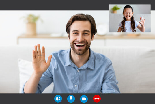 Video Call Interface Of Young Man Talking With His Little Daughter