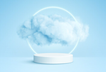 Obraz Realistic white fluffy clouds in product podium with neon circle on blue background. Cloud sky background for your design. Vector illustration - fototapety do salonu