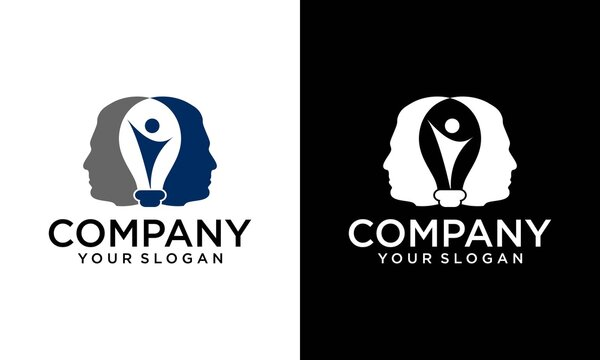 Modern Smart AI Logo Template. Bulb And Face Symbol Vector. human head bulb lamp logo vector idea smart overlapping icon download