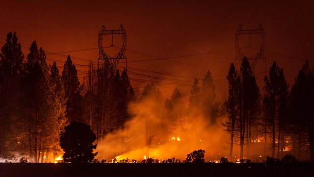 Wildfire under transmission power lines