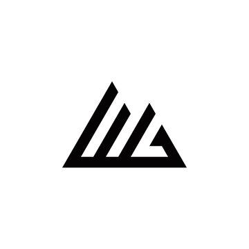 w g wg initial mountain logo design vector symbol graphic idea creative