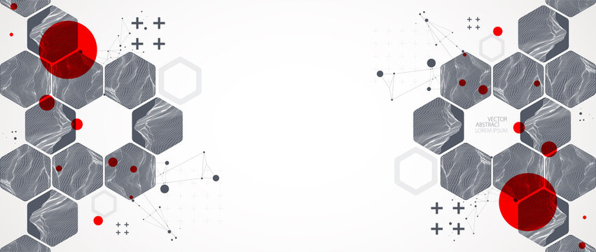 Modern science or technology abstract background using hexagonal shapes. Wireframe spot surface illustration. Vector.