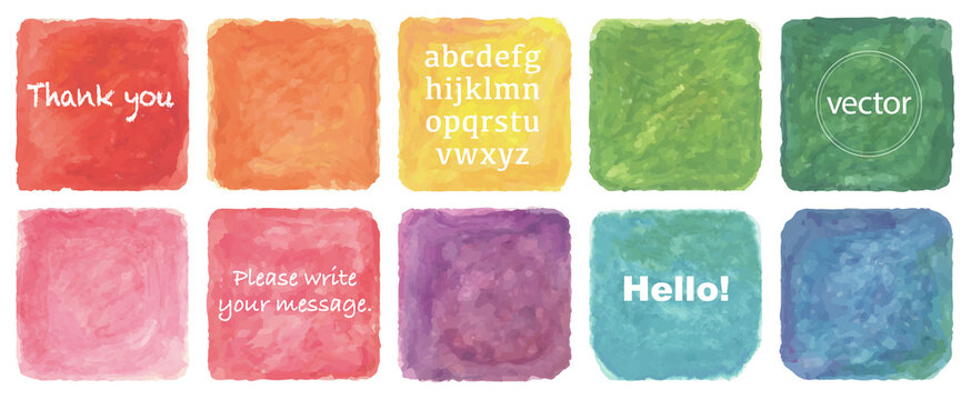 Vector watercolor painting rectangle set