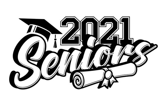 Senior Class of 2021 greeting, invitation card. Text for graduation design, congratulation event, T-shirt, party, high school or college graduate. Vector on transparent background