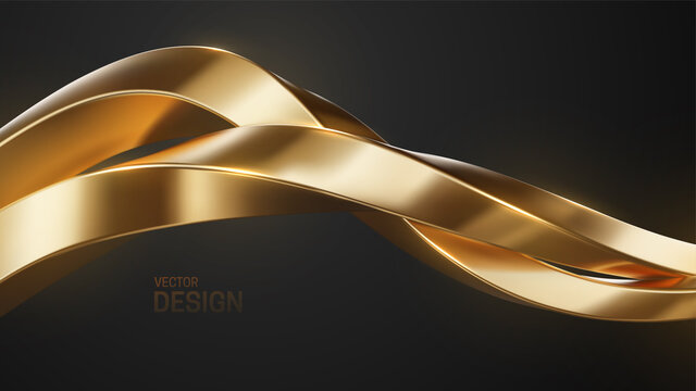 Golden intertwined shapes. Jewelry pattern